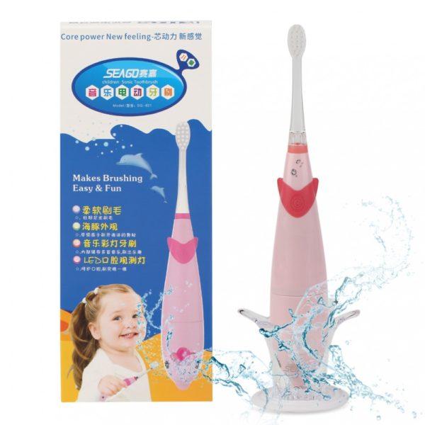 Детская электрическая звуковая зубная щетка Seago SG921 Sonic, Pink (K1010050205)