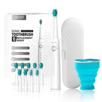 Звуковая зубная щетка Seago SG-958 со стаканом и кейсом, White
